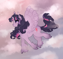 Size: 823x759 | Tagged: alicorn, artist:maykitz, beautiful, chest fluff, cloud, ear fluff, female, flying, looking up, mare, no mouth, pony, safe, solo, sparkles, spread wings, starry eyes, twilight sparkle, twilight sparkle (alicorn), unshorn fetlocks, wingding eyes, wings