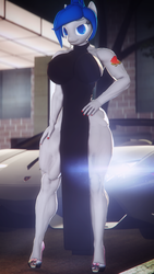 Size: 2160x3840 | Tagged: 3d, anthro, anthro oc, armpits, artist:dashie116, big breasts, black dress, breasts, car, clothes, dress, female, oc, oc:daria quanto, safe, smiling, solo, source filmmaker, tattoo, unguligrade anthro, vehicle
