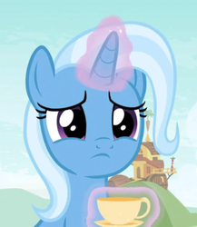 Size: 512x591 | Tagged: cropped, cup, cute, diatrixes, female, levitation, magic, sad, sadorable, safe, screencap, solo, spoiler:s09e11, student counsel, teacup, telekinesis, that pony sure does love teacups, trixie, unicorn