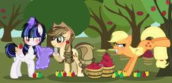Size: 3992x1936 | Tagged: safe, artist:magicdarkart, artist:xxsakuragalaxyxx, applejack, oc, oc:moonlight velvet, oc:sugary apple, alicorn, earth pony, pony, alicorn oc, apple, apple tree, applebucking, base used, blind eye, bucket, cowboy hat, female, food, hat, hatless, levitation, magic, mare, missing accessory, offspring, parent:applejack, parent:caramel, parent:flash sentry, parent:twilight sparkle, parents:carajack, parents:flashlight, quill, scroll, stetson, sweet apple acres, telekinesis, tree