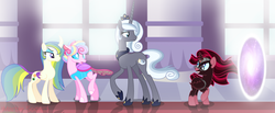 Size: 4952x2032 | Tagged: safe, artist:awoomarblesoda, oc, oc only, oc:aethina, oc:confectionery, oc:starlet enchantment, oc:tarot spell, alicorn, changedling, changeling, changepony, hybrid, pony, unicorn, base used, changedling oc, changeling oc, female, glasses, mare, offspring, parent:princess celestia, parent:princess luna, parent:star swirl the bearded, parent:sunburst, parent:thorax, parent:twilight sparkle, parents:lunaswirl, parents:thoralestia, parents:twiburst, pink changeling, portal, possessed, socks (coat marking)