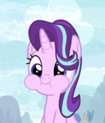 Size: 315x367 | Tagged: safe, screencap, starlight glimmer, pony, unicorn, student counsel, aweeg*, chipmunk cheeks, cropped, cute, eating, female, glimmerbetes, mare, puffy cheeks, smiling, solo