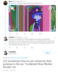 Size: 772x960 | Tagged: safe, space camp (character), equestria girls, equestria girls series, five lines you need to stand in, spoiler:eqg series (season 2), background human, braided ponytail, female, hat, katrina hadley, meta, not luna, outhouse, twitter