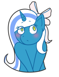 Size: 715x928 | Tagged: safe, artist:dillpickle9559, oc, oc only, oc:fleurbelle, alicorn, pony, unicorn, alicorn oc, blushing, bow, cute, female, hair bow, mare, simple background, transparent background, yellow eyes