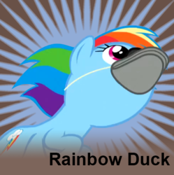Size: 486x487 | Tagged: safe, edit, edited screencap, editor:sponandi, screencap, rainbow dash, goose, pegasus, pony, derpibooru, tanks for the memories, background removed, cropped, female, flying, joke, literal duck face, mare, meta, op, op is a duck, pegaduck, rainbow dash is a duck, rainbow duck, spoilered image joke, text