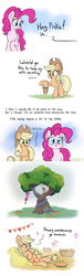 Size: 1280x4209 | Tagged: safe, artist:heir-of-rick, applejack, pinkie pie, earth pony, pony, daily apple pony, the perfect pear, all in one, apple, apple tree, balloon, basket, bittersweet, bucket, candle, comic, compilation, dialogue, duo, female, food, full comic, hanging, hatless, hay, heartwarming, hidden cane, holding, hopping, implied bright mac, implied pear butter, intertwined trees, mare, missing accessory, on back, open mouth, pear, pear tree, pie, prehensile tail, raised hoof, rock, simple background, tail hold, tree, white background