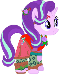 Size: 306x393 | Tagged: artist:selenaede, artist:user15432, base used, clothes, crossover, dress, flower, flower in hair, goddess, kid icarus, kid icarus: uprising, nintendo, pony, safe, shoes, starlight glimmer, super smash bros., unicorn, viridi