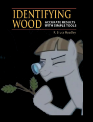 Size: 900x1186 | Tagged: book cover, cover, earth pony, edit, edited screencap, hoof hold, identifying wood, loupe, male, meme, mudbriar, safe, screencap, solo, spoiler:s09e11, stallion, stick, student counsel