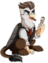 Size: 1968x2579 | Tagged: artist:pridark, cigar, griffon, griffonized, j. jonah jameson, male, newspaper, safe, simple background, solo, species swap, transparent background