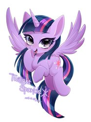 Size: 1531x2048 | Tagged: safe, artist:bbtasu, twilight sparkle, alicorn, pony, cute, eyebrows visible through hair, female, looking at you, mare, open mouth, solo, spread wings, twiabetes, twilight sparkle (alicorn), wings