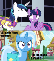 Size: 1276x1440 | Tagged: safe, edit, edited screencap, screencap, shining armor, trixie, twilight sparkle, alicorn, pony, sparkle's seven, student counsel, cartoonito logo, engrish, female, implied incest, implied infidelity, implied princess cadance, implied shiningsparkle, implied shipping, implied straight, jealous, lesbian, saddle bag, shipping, twilight sparkle (alicorn), twixie, waifu