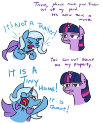 Size: 629x760 | Tagged: safe, artist:jargon scott, trixie, twilight sparkle, alicorn, pony, unicorn, angry, cape, clothes, comic, cute, dialogue, diatrixes, female, lidded eyes, madorable, mare, no pupils, open mouth, tiny home, tongue out, trixie is poor, trixie's cape, trixie's wagon, twilight sparkle (alicorn), yelling