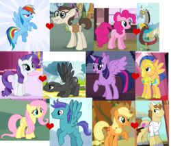 Size: 1480x1263 | Tagged: safe, applejack, discord, donut joe, flash sentry, fluttershy, gizmo, open skies, pinkie pie, rainbow dash, rarity, thunderlane, twilight sparkle, alicorn, draconequus, earth pony, pegasus, pony, unicorn, discopie, donutjack, female, flashlight, gizmodash, male, mare, openshy, rarlane, shipping, shipping domino, stallion, straight, twilight sparkle (alicorn)