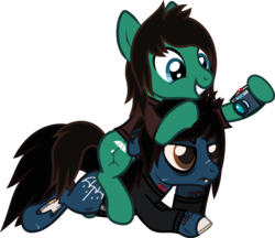 Size: 1083x938 | Tagged: angry, artist:lightningbolt, bags under eyes, bloodshot eyes, bone, bring me the horizon, brothers, camera, clothes, derpibooru exclusive, drop dead clothing, duo, earth pony, floppy ears, grin, happy, hoof hold, hoof on chin, hoof on head, lip piercing, long sleeves, male, oliver sykes, photography, piercing, ponies riding ponies, ponified, pony, prone, safe, scar, shirt, siblings, simple background, smiling, stallion, stitches, svg, .svg available, tattoo, tom sykes, torn ear, transparent background, t-shirt, undead, vector, zombie, zombie pony