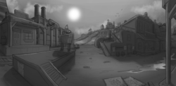 Size: 2000x977 | Tagged: safe, artist:theomegaridley, fallout equestria, fallout equestria: red 36, background, barn, barrel, cherry hill ranch, cloud, concept art, desert, dodge city, environment art, factory, fanfic art, industry, monochrome, no pony, post-apocalyptic, poster, saloon, scenery, sky, storage, sun, train station, wasteland, western, wood