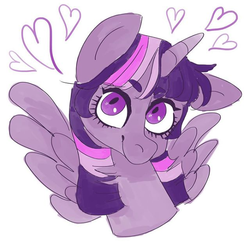 Size: 598x598 | Tagged: safe, artist:shmoobeardraws, edit, twilight sparkle, alicorn, pony, bust, cropped, eyebrows, eyebrows visible through hair, female, floppy ears, gift art, heart, limited palette, looking up, mare, simple background, smiling, solo, spread wings, starry eyes, twilight sparkle (alicorn), white background, wingding eyes, wings