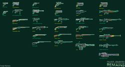 Size: 6500x3500 | Tagged: safe, artist:wangkingfun, fallout equestria, game: fallout equestria: remains, anti-aircraft gun, anti-machine rifle, anti-materiel rifle, assault rifle, automatic rifle, fanfic, fanfic art, game, gun, handgun, m4 variant, machine gun, minigun, no pony, optical sight, pistol, revolver, rifle, sawn off shotgun, scope, shotgun, spitfire's thunder, submachinegun, weapon, zebra rifle