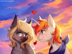 Size: 2456x1842   Tagged: safe, artist:kottonashi, oc, pony, unicorn, flower, heart, rose