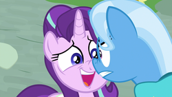 Size: 1920x1080 | Tagged: safe, screencap, starlight glimmer, trixie, pony, unicorn, student counsel, boop, duo, female, mare, nervous, nose to nose, nose wrinkle, noseboop