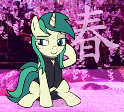 Size: 1722x1560 | Tagged: safe, artist:tyamat, oc, oc only, oc:spring starflower, pony, unicorn, absurd resolution, choker, clothes, cute, dress, female, kanji, simple background, solo, trans girl, transgender, transparent background, vaporwave