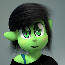 Size: 1080x1080 | Tagged: safe, artist:binary6, oc, oc only, oc:filly anon, anthro, 3d, 3d model, adoracreepy, clothes, creepy, cute, female, filly, render, uncanny valley
