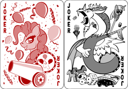 Size: 1270x889 | Tagged: artist:virenth, discord, draconequus, earth pony, joker, jokercord, pinkie joker, pinkie pie, playing card, pony, safe