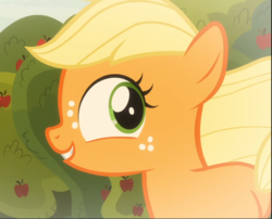 Size: 1162x939 | Tagged: applejack, close-up, cropped, cute, female, filly, filly applejack, going to seed, jackabetes, safe, screencap, smiling, solo, spoiler:s09e10, younger