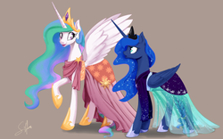 Size: 1280x800 | Tagged: alicorn, artist:silfoe, braided tail, clothes, cute, dress, edit, editor:childofthenight, ethereal mane, female, gala dress, looking at each other, make new friends but keep discord, mare, one hoof raised, pony, princess celestia, princess luna, royal sisters, royal sketchbook, safe, siblings, sisters, spread wings, starry mane, wings