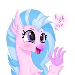 Size: 4000x4000   Tagged: safe, artist:luntikius, silverstream, classical hippogriff, hippogriff, absurd resolution, blushing, bust, cute, dialogue, diastreamies, female, high five, open mouth, portrait, simple background, solo, speech bubble, white background