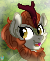 Size: 1232x1513 | Tagged: safe, artist:rainbow eevee, autumn blaze, kirin, bust, cute, female, leaf background, leaves, open mouth, portrait, shadow, smiling, solo