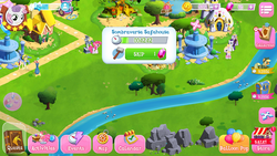Size: 1280x720 | Tagged: safe, applejack, buck withers, flam, hoofer steps, pinkie pie, rarity, sweetie belle, pony, the cutie re-mark, balloon, bits, element of kindness, game screencap, gameloft, gem, harmony stones, river, sombraverse, stream