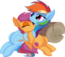 Size: 7012x6176 | Tagged: absurd res, artist:cyanlightning, cute, cutealoo, cutie mark, dashabetes, duo, ear fluff, eyes closed, female, filly, holding, hug, lidded eyes, log, mare, pegasus, pony, rainbow dash, safe, scootaloo, scootalove, simple background, sitting, smiling, .svg available, the cmc's cutie marks, transparent background, vector