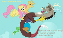 Size: 724x438 | Tagged: safe, edit, edited screencap, screencap, discord, fluttershy, draconequus, best friends, buddies, duo, female, friends, fun, happy, laughing, male, mare, smiling, tickling