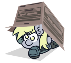 Size: 900x800 | Tagged: safe, artist:threetwotwo32232, derpy hooves, pony, cardboard box, metal gear solid 2, newbie artist training grounds, parody, solo
