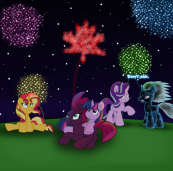 Size: 5633x5575 | Tagged: adorable face, alicorn, artist:ejlightning007arts, canada, canada day, cute, fireworks, fizzlepop berrytwist, lying down, magical quartet, magical quintet, magical trio, night, pony, safe, shimmerbetes, shocked, sitting, starlight glimmer, sunset shimmer, tempestbetes, tempest shadow, trixie, twiabetes, twilight sparkle, twilight sparkle (alicorn), unicorn