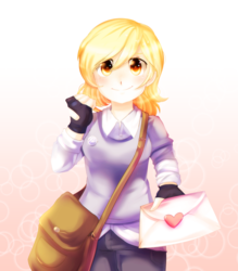 Size: 3500x4000 | Tagged: safe, artist:rizzych, derpy hooves, human, bag, cute, derpabetes, female, gradient background, humanized, letter, looking at you, solo, underp