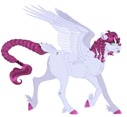 Size: 1192x1097 | Tagged: safe, artist:bijutsuyoukai, oc, oc only, oc:lolita, pegasus, pony, braid, braided tail, colored hooves, crack ship offspring, feathered fetlocks, female, lipstick, magical lesbian spawn, mare, offspring, parent:cherry jubilee, parent:inky rose, realistic horse legs, simple background, solo, transparent background