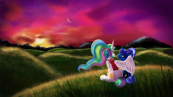 Size: 3840x2160 | Tagged: alicorn, artist:qbellas, between dark and dawn, duo, hug, pony, princess celestia, princess luna, royal sisters, safe, spoiler:s09e13, winghug