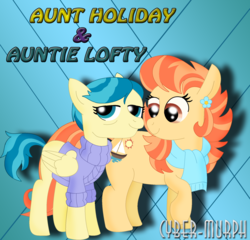 Size: 1918x1840 | Tagged: safe, artist:cyber-murph, aunt holiday, auntie lofty, earth pony, pegasus, pony, season 9, the last crusade, spoiler:s09e12, clothes, female, lesbian, lofty day, mare, scarf, shipping, sweater
