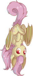Size: 4886x11309 | Tagged: artist:cutepencilcase, bat ponified, bat pony, bat wings, chest fluff, cute, ear fluff, fangs, female, flutterbat, fluttershy, hooves to the chest, looking at you, mare, pony, race swap, safe, shyabates, shyabetes, simple background, smiling, solo, three quarter view, transparent background, upside down, vampony, wings