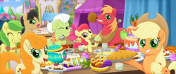 Size: 3840x1616 | Tagged: apple, apple bloom, apple family, apple fritter, applejack, apple juice, apple pie, apple slice, background pony, big macintosh, blueberry, cake, caramel apple, caramel apple (food), carrot, crumbs, cupcake, earth pony, eating, eyes closed, female, filly, food, golden delicious, granny smith, grapes, juice, licking, licking lips, male, mare, my little pony: the movie, one eye closed, pie, pineapple, pony, pudding, puffy cheeks, punch bowl, punch (drink), safe, sandwich, screencap, shishkebab, stallion, tongue out, upscaled, we got this together