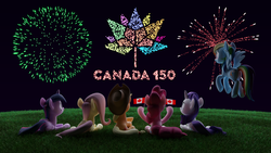 Size: 5120x2880 | Tagged: safe, artist:zgcbrony, applejack, fluttershy, pinkie pie, rainbow dash, rarity, twilight sparkle, alicorn, pony, 3d, animated in description, blender, blender cycles, canada, canada day, fireworks, grass, hill, mane six, twilight sparkle (alicorn)
