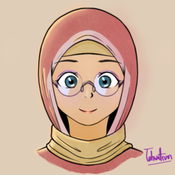 Size: 572x571 | Tagged: artist:tehwatever, bust, clip studio paint, clothes, desert flower, digital art, glasses, hijab, human, humanized, safe, scarf, signature, simple background, skullcap, solo, somnambula resident