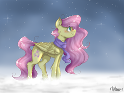 Size: 2048x1536 | Tagged: artist:valiantstar00, clothes, ear fluff, female, fluttershy, folded wings, looking at something, mare, pegasus, pony, profile, safe, scarf, smiling, snow, snowfall, solo, standing, wings, winter, winter outfit