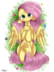 Size: 1800x2400 | Tagged: artist:valiantstar00, blushing, chest fluff, female, floppy ears, flower, fluttershy, grass, head tilt, hooves to the chest, looking at you, mare, on back, pegasus, pony, safe, smiling, solo, spread wings, underhoof, wings