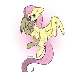 Size: 900x900 | Tagged: safe, artist:sunalika, fluttershy, pegasus, pony, female, floppy ears, gradient background, hooves to the chest, looking at you, looking sideways, mare, solo, spread wings, three quarter view, wings