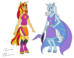 Size: 4833x3847 | Tagged: safe, artist:red-dragon-x7, sunset shimmer, trixie, anthro, belly button, equestria girls outfit, female, lesbian, shipping, suntrix