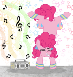 Size: 1760x1850 | Tagged: safe, artist:pink-pone, pinkie pie, earth pony, pony, abstract background, atg 2019, boombox, breakdancing, handstand, leg warmers, music notes, newbie artist training grounds, solo, stars, upside down