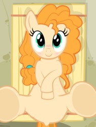 Size: 3899x5148 | Tagged: safe, alternate version, artist:mrkat7214, derpibooru exclusive, pear butter, earth pony, pony, blushing, cute, explicit description, featureless crotch, female, hay bale, legs in air, looking at you, pearabetes, show accurate, smiling, solo, underhoof