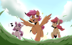 Size: 2042x1276 | Tagged: apple bloom, artist:luka-koward, cute, cutie mark crusaders, dead source, earth pony, eye clipping through hair, eyes closed, female, filly, music notes, open mouth, pegasus, pony, running, safe, scootaloo, spread wings, sweetie belle, trio, unicorn, wings